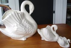 2 x crown lynn swans plus baby hummel swan personal collection