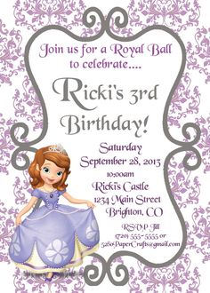 sofia the first custom damask birthday invite by 5280papercrafts 500 wwwfbcom
