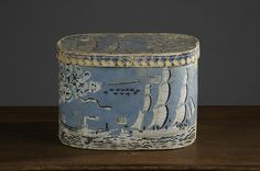 Antique wallpapered box