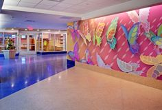 Children's Hospital of Pittsburgh Healthcare Architecture, Healthcare Design, Art And Architecture, Floor Graphics, School Murals, Hospital Design, Clinic Design, Kids Play Area, Environmental Graphics