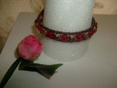 BOHO Handmade Leather Wrap Bracelet with Red and Brown Glass Beads Owl Closure #Handmade #Wrap