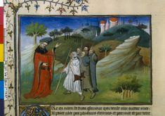 The Voyages of Jean de Mandeville and the Liber peregrinationis by Ricoldo de Montecroce, c. 1410-1412.  Illustration of pilgrims traveling (fol. 142v).  http://visualiseur.bnf.fr/ConsulterElementNum?O=IFN-07902040E=JPEGDeb=1Fin=1Param=C
