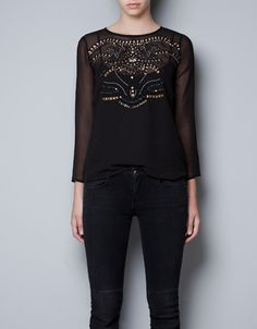 SHEER TOP WITH EMBELLISHMENTS - Shirts - TRF - ZARA United States