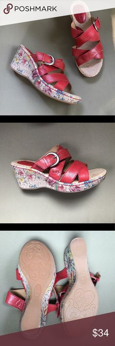 "NWOT Born Rae Red Leather Wedge Heel New without tags or box, B.O.C. by Born Rae Slide Sandal. Criss-cross leather straps with adjustable buckle on instep strap, extra heel padding & arch support. An artistic floral printed 1/2"" cork covered platform & 2 3/4"" wedge heel. Have several pair of Born shoes & they are very comfortable. Unfortunately these are not my size🙁 Pair w/denim/chambray skirt, capris, shorts, dress, jeans or pants for a great look! I think you can still buy online if you…"