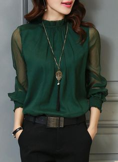 Chiffon Stand-up Collar Plain Long Sleeves Sheer Blouses (1003212250) - Blouses - veryvoga