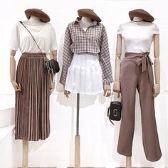 korean fashion earth tones outfits beret check button up shirt velvet pleated skirt trousers Kpop Fashion Outfits, Ulzzang Fashion, Korean Outfits, Cute Fashion, Look Fashion, Girl Fashion, Girl Outfits, Cute Outfits, Womens Fashion