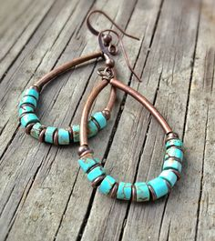 Turquoise and Copper Earrings / Turquoise Earrings / Turquoise Jewelry / Hoop Earrings / E032 on Etsy, $24.70 CAD