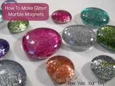 How to Make Glitter Glass Marble Magnets