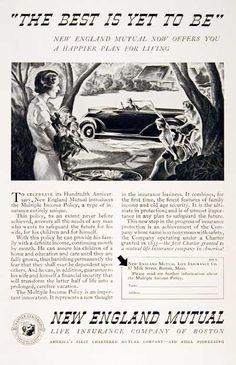 1935 New England Mutual Life Insurance original vintage advertisement. Celebrating our 100th anniversary! Introducing the Multiple Income Insurance Policy.