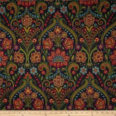Screen printed on cotton twill; this lightweight fabric is very versatile and perfect for window treatments (draperies, valances, curtains, and swags), bed skirts, duvet covers, pillow shams, accent pillows, tote bags, aprons and light upholstery. Colors include teal, purple, rust, green, red, yellow and black with metallic gold accents throughout the design.
