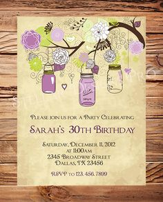 30th Birthday Invite 40th 50th Birthday Adult by StellarDesignsPro, $20.00