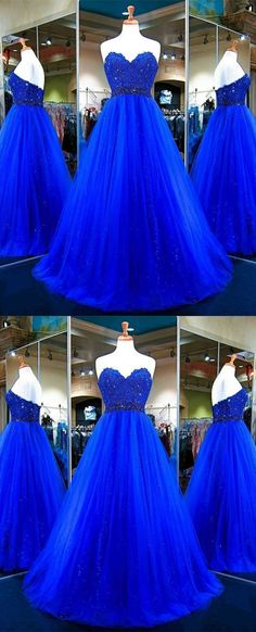 Long Prom Dress,Tulle Ball Gowns,Royal Blue Evening Dress,Sweetheart Prom Gowns,Elegant Prom Dress