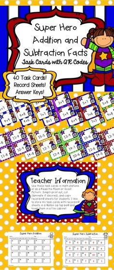 Do your kids need a new way to practice their addition and subtraction facts? Try these SUPER kids task cards with QR codes! Use them in a math center, as a Scoot activity, or a Read the Room activity to get kids moving during math. Your students will love scanning the QR code on each task card to check their answers and you'll love the immediate feedback they get!