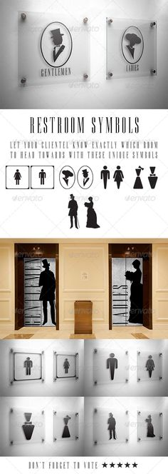 Buy Restroom Vector Symbols by urbancool on GraphicRiver. Enjoy informing your clientèle of the direction they should take when heading to the correct restroom. These 5 sets o. Toilet Signage, Bathroom Signage, Toilet Door Sign, Bathroom Doors, Signage Board, Wayfinding Signage, Signage Design, Wc Symbol, Toilet Symbol