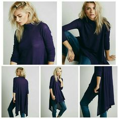"""Free People Wonder Woman mock neck Free People- we the free- Wonder Woman mock neck in purple/eggplant   Brand new with tags and sold out absolutely everywhere. Super on trend. Snatch this beauty up   Laying flat measurements: - 19"""" from armpit to armpit  53% cotton, 37% polyester, 10%rayon. Machine wash cold gentle cycle.  no trades Free People Sweaters"""