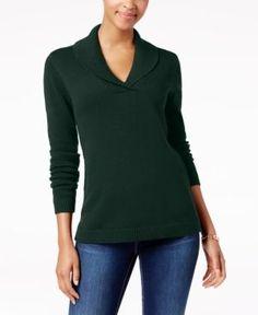 Charter Club Petite Shawl-Collar Sweater, Created for Macy's - Green P/XS