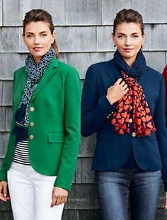 Mixing scarves with colored blazers