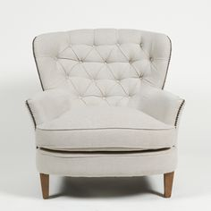 "Latte Pia Tufted Lounge Chair - Love how cozy this looks, could be a great piece for my ""eclectic"" furniture collection I'm trying to build for my elegant-meets cozy-meets vintage living room"