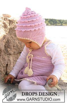 Sweet Little Cupcake / DROPS Baby 20-20 - Das Set umfasst: Gehäkeltes Kleid und Mütze für Babys und Kinder in DROPS Merino Extra Fine