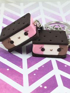 Polymer Clay Ice Cream Sandwich Charms, Polymer Clay Jewelry, Neapolitan Ice Cream Sandwiches, Kawaii Food, Food Keychain, Cute Gift for Her by MyPetiteTreats on Etsy https://www.etsy.com/listing/619726569/polymer-clay-ice-cream-sandwich-charms