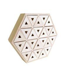 Cabinet drawers geometric shape composed of 24 small drawers triangles and hexagonal wooden.   You just customize the structure with the painting, a collage, paper or any other technique at your convenience.    Furniture to decorate Material: wood Form: Hexagon Dimensions: 36.5 x 31.5 x 7.5 cm