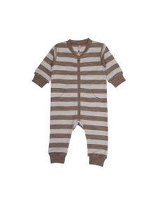 Hust&Claire ull/bomull heldrakt striper brun grå - colorwool