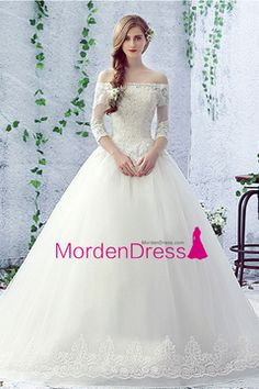2016 Wedding Dresses Open Back Boat Neck Tulle With Applique And Beads Cathedral Train US$ 309.99 MDP9DHBTFL - mordendress.com for mobile