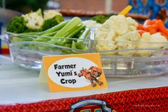 Paw Patrol party food- Farmer Yumi's crop (veggies)