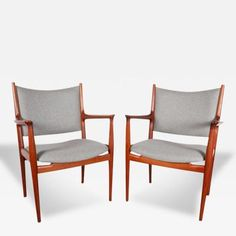 Hans Wegner Hans Wegner JH 513 Cashmere and Teak Arm Chairs for Knoll International