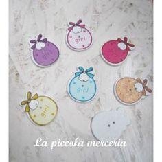 5 bottoni legno biberon dipinti charm 36 x 23 mm bigiotteria 2 fori colori misti