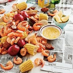 Shrimp Boil    YIELD: Makes 8 servings   COOK TIME: 40 MINUTES   PREP TIME: 20 MINUTES   COURSE: Main Dishes   Ingredients  1 (12-ounce) bottle beer   1 (1.5-ounce) bag seafood boil seasoning   1 tablespoon salt   1/2 teaspoon cayenne pepper (optional)   3 bay leaves   2 onions, quartered   2 garlic bulbs, halved   1 pound small red potatoes   4 ears fresh corn, husks removed and halved   1 pound smoked sausage, cut into 1-inch diagonal slices   2 pounds large shrimp   French baguette, lemon we