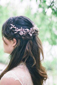 Hair vine. Rose gold hair vine bridal by CharlotteFarrBridal