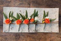 Boutonnieres featured rose buds and bay leaves.   Venue: Sonoma Golf Club   Event Planner: Jamie Gansler fromA Savvy Event   Floral Designer:PoppyStone Floral Couture
