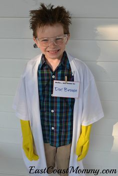 No sewing required for this mad scientist costume. The lab coat is genius!
