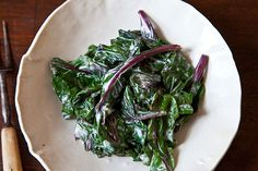 Warm Beet Greens with Sour Cream Dressing ; root to stem cooking ; vegetable scraps ; vegetarian ; healthy ; salad