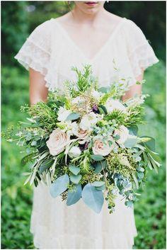 13 Eucalyptus Wedding Bouquets and Flower Arrangement Ideas: Organic + whimsical rose + greenery wedding bouquet {Flora + Fauna}