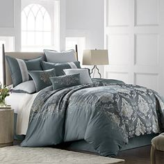 JCPenney Home Kagan Jacquard Embellished Comforter Set, Color: Teal - JCPenney Blue Comforter Sets, Bedding Sets, Clean Bed, Box Bed, Best Pillow, Full Bed, Bed Sizes, California King, Panel Curtains