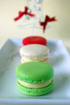 red, white and green macarons
