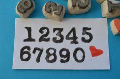 half inch old school number stamps, hand carved number stamps, handmade stamp set