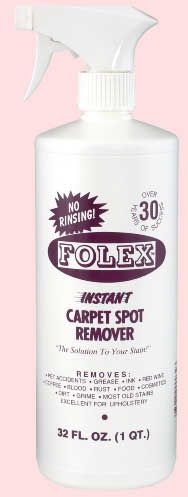 Folex, best carpet stain remover I have ever found!  Residue free Effective on many stains: auto oil, grease, coffee, dirt, crayon, soot, fruit juice, grass, wine,  grape juice, makeup, ink, pet accidents, rust...  Non-toxic, non-flammable, and odour-free