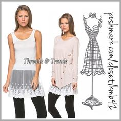 Lace Top & Dress Extender Tunic Super genius idea tank lace tunic extender. Pair with tunic dresses, mini dresses, tunic tops & cardigans for more length. Versatile color Ivory. Size S, M, L made of rayon & spandex. Has lots of stretch. Pair with black tunic shown in 4th photo. Black tunic sold separately. Threads & Trends Tops