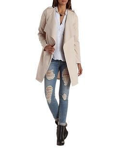 Collarless Draped Trench Coat: Charlotte Russe