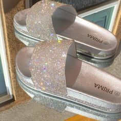 Rhinestone Sandals, Silver Rhinestone, Fashion Slippers, Fashion Sandals, Fluffy Shoes, Cute Slides, Bridal Sandals, Fresh Shoes, Cute Sandals