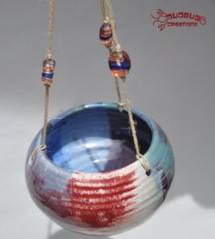 Hanging Planter  Blue Red Purple by MudbugCreations on Etsy, $18.00
