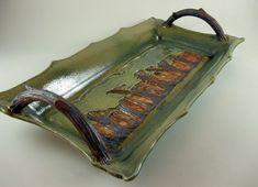 Ceramic Tray Art Pottery / Handmade Woodland / Faux Bois Handles / 467. $98.00, via Etsy.