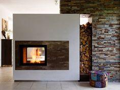 Kachelofen Modern Produkte - moderne Kamine & Kachelöfen vom Profi Stove Fireplace, Cozy Fireplace, Modern Fireplace, Fireplace Design, Living Place, Interior Styling, Family Room, Sweet Home, New Homes