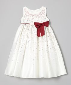 Growing Up Burgundy Sparkle Bow Dress - Toddler & Girls by Growing Up #zulily #zulilyfinds