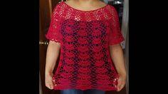 Blusa en crochet  (ganchillo)de abanicos parte 1