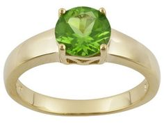 Stratify(Tm) 1.35ct Round Manchurian Peridot(Tm) 18k Yellow Gold Over S/S Ring Erv $88.00