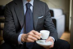 "sartoriaandco: "" Sunday coffee at home… Sartoria Pino Peluso Bespoke suit and Chavet tie… """